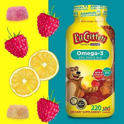 Lil Critters 220 Omega-3 Kids Gummy Vitamins DHA Children's Dietary Supplement - Lil Critters Gummy Vitamin