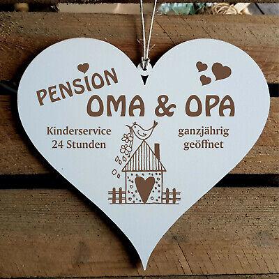 Schild Herz PENSION Oma & Opa Geschenk Großeltern Türschild Haus