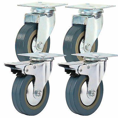 4 Heavy Duty 600kg 100mm Rubber PU Swivel Castor Wheels Trolley Furniture Caster