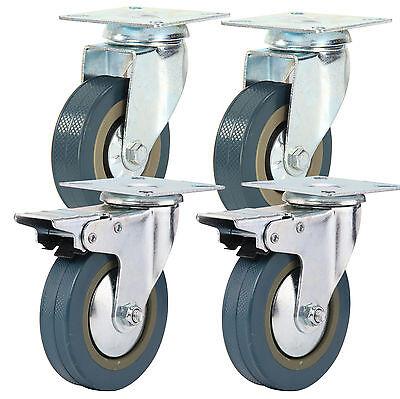 4 Heavy Duty 600kg 100mm Rubber PU Swivel Castor Wheels Trolley Furniture Caster
