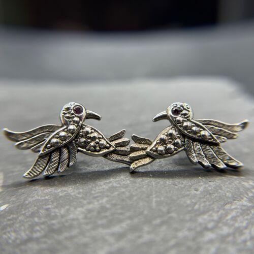 925 Sterling Silver Earrings - Flying Birds Purple Glass Eyes - Post