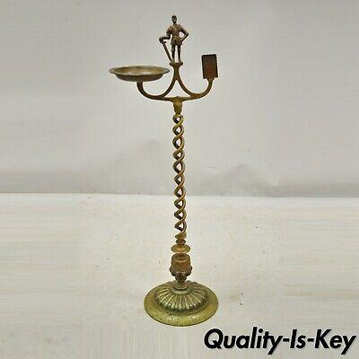 Vintage Brass Bronze Medieval Knight Figural Smoking Stand Ashtray Spiral Column