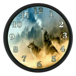 Wolves Night Wall Clock Wild Animals Wild Dogs Wolf Personalized Wild Life