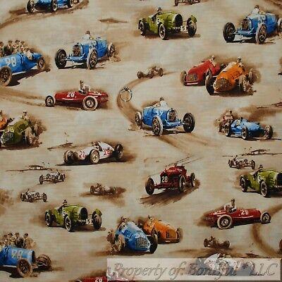 BonEful FABRIC FQ Cotton Quilt Brown Tan Dirt Mud Road Drag Race Car Classic Boy for sale  Richland