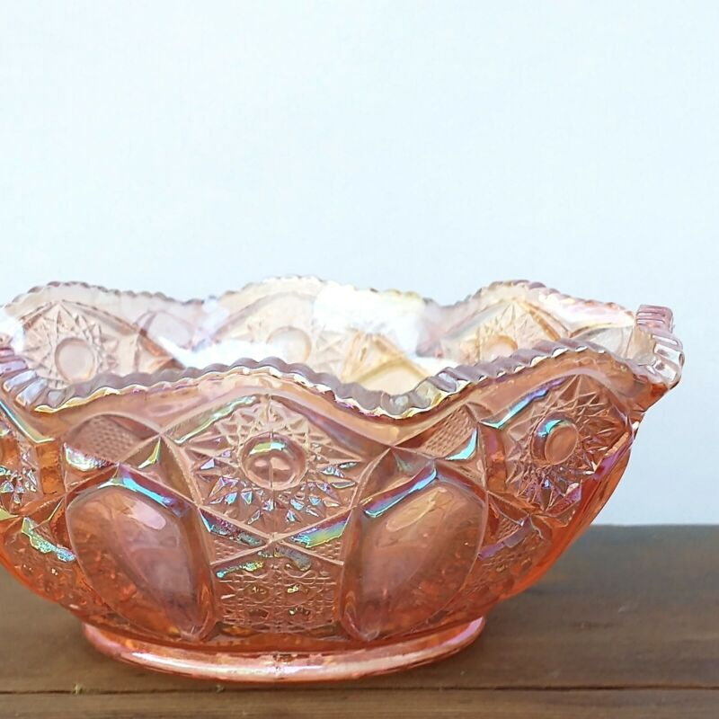 Vtg Cut Glass LE Smith Pink Carnival Cane Quintec Pattern Candy Fruit Bowl S