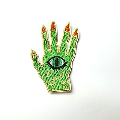 Witch Hand Evil Eye Iron-On/Sew-On Embroidered Applique, Wiccan Goth Alt Punk