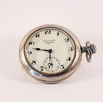 Antique Chorometre Angelus Open Face Pocket Watch Made in Swiss circa 1910