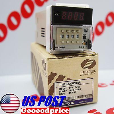 Hanyoung Digital Countertimer Gf4-p41n Spdt 100-240vac Nib Fast Shipping