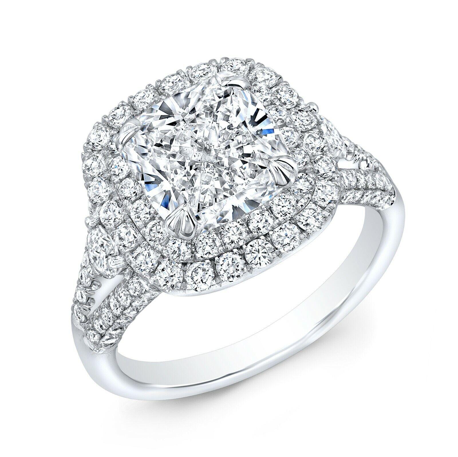 2.60 TCW Natural Cushion Double Halo Split Shank Diamond Engagement Ring - GIA