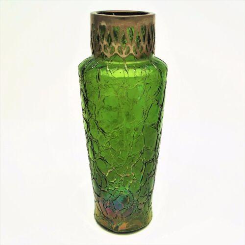 Kralic crackle green iridescent glass vase