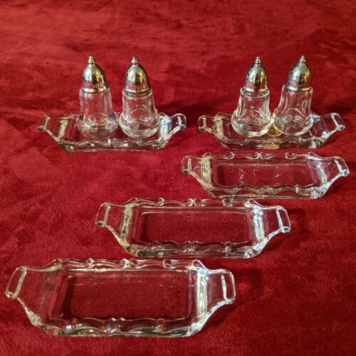 Fostoria Century Lot of 2 Individual Salt & Peppers with Trays & 3 more Trays