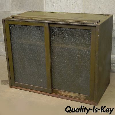Remington Rand Industrial Green Steel Metal Stacking Barrister Storage Cabinet A