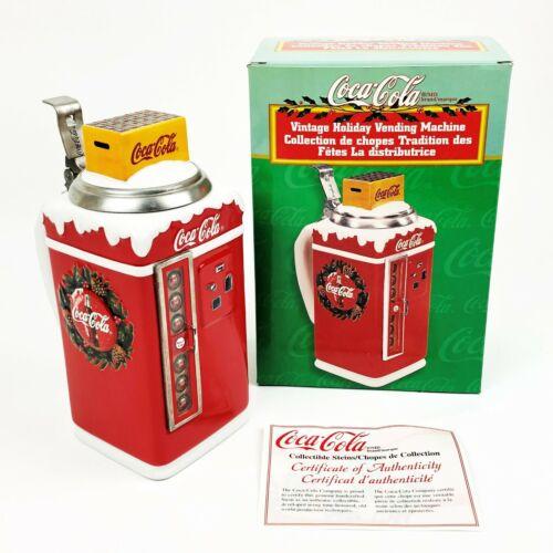 Vintage 1999 Coca Cola Holiday Vending Machine Beer Stein Near Mint w/ Box & COA