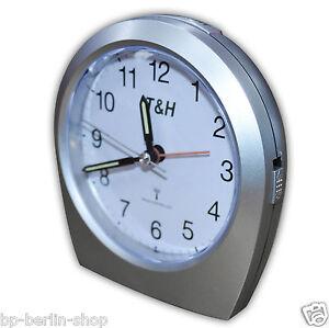 Funkuhr  Wecker Alarmclock Funkwecker Uhren mit Lampe leise Ticken T&H -181