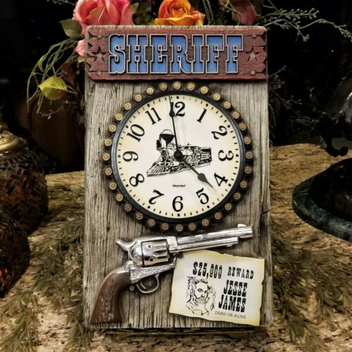 Vintage WESTCLOX Rustic COLT 45 JESSE JAMES Wanted Poster Train Clock Wall Decor