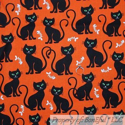 BonEful Fabric FQ Cotton Quilt Orange Black White B&W CAT Fish Bone Food Holiday](Animation D'halloween)