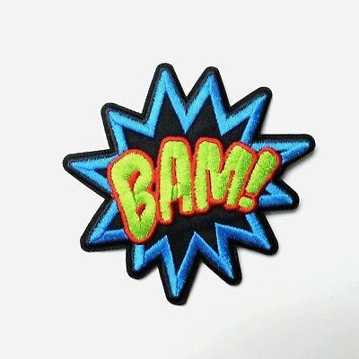 Bam Bam Cartoon (BAM! Comic Caption, Cartoon Pop Art Patch Iron-On/Sew-On Embroidered)