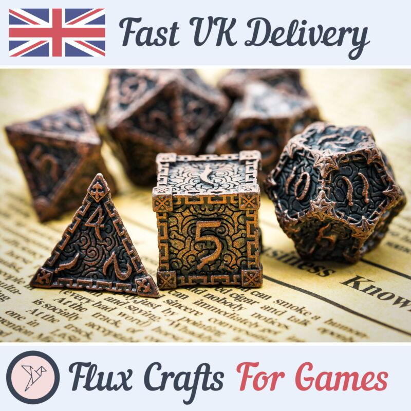 7pcs Copper Metal RPG Dice Set Wash Dagger DND Tabletop Dungeons Flux Crafts