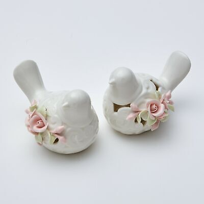 Lighted Floral Ceramic Bird Decorations - Spring Accent Décor - Set of 2