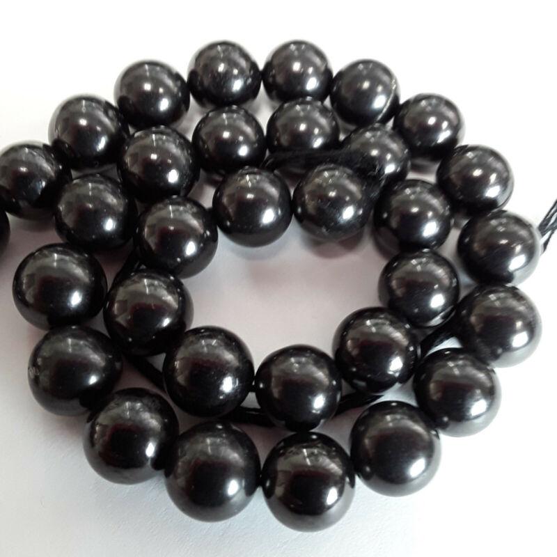AAA Genuine Natural Shungite Polished Round Beads 8mm 15 Inch Strand