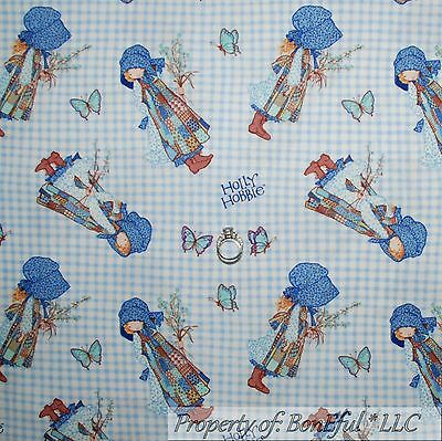 Blue Gingham Fabric (BonEful Fabric FQ Cotton Quilt Blue Holly Hobbie Doll Gingham Flower Butterfly)