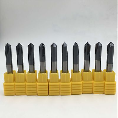 10pclot Carbide Dia 4mm 2flutes Chamfer Mill 90degree Hrc45 End Mill Cutter Bit