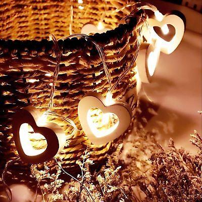 Led Fairy Light Wooden Heart Wedding String Battery Garden Warm White Christmas