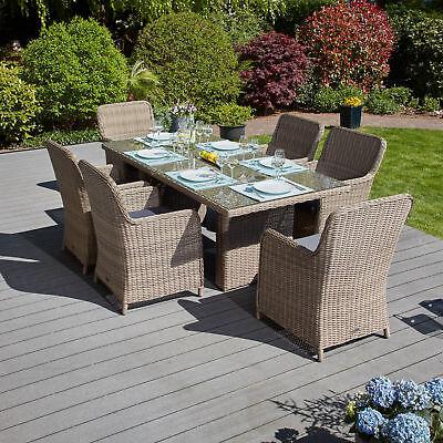 Tischgruppe Braun 13 Tlg. Polyrattan Gartenmöbel Speisegruppe Gartenmöbelset