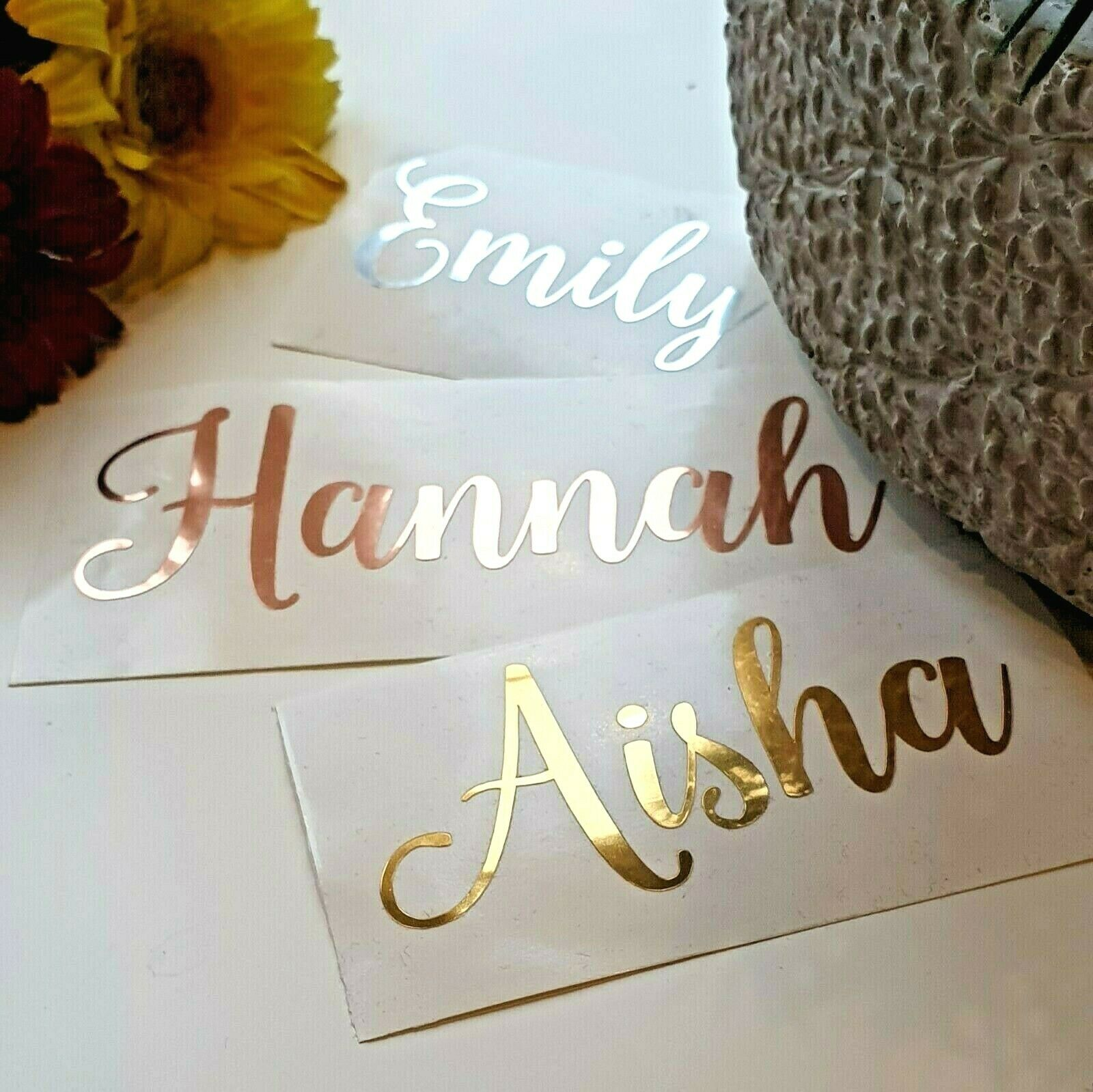 PERSONALISED Name Decals Vinyl Stickers Wedding Mirror Rose Gold Silver Metallic