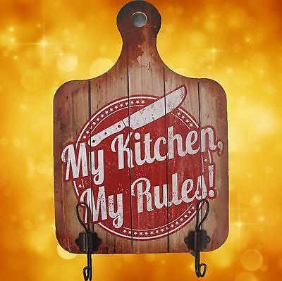 Wandschild Handtuch Halter Holz My Kitchen Dekoration Schilder & Tafeln Rarität