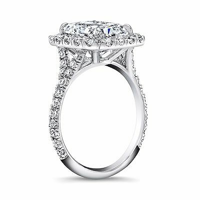 1.70ctw Natural Radiant Halo Pave Split Shank Diamond Engagement Ring - GIA  1