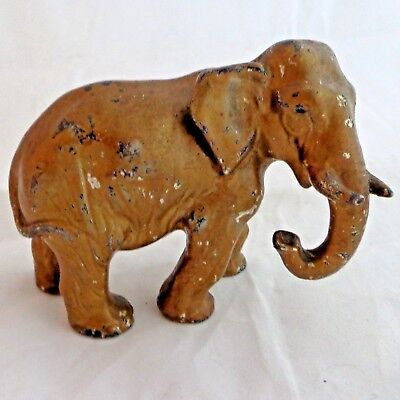 Antique Elephant Figurine Gilded Cast Spelter Cold Painted Bronzed c 1900 3 1/4""