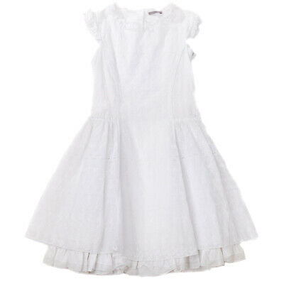 RRP€325 ERMANNO SCERVINO JUNIOR Flared Dress Size 14Y Embroidered Eyelets Ruffle