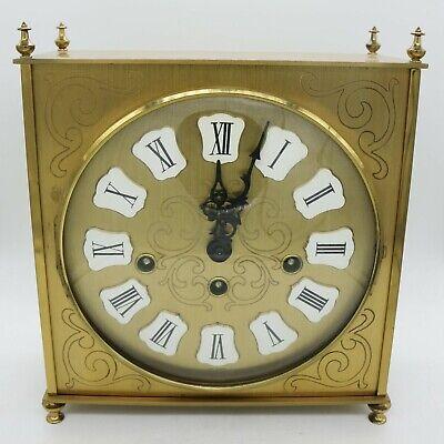 Vtg Howard Miller Triple Wind Chime Brass Mantel Mechanical Clock 340-020