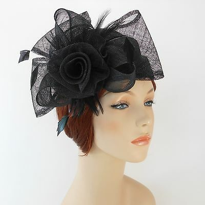 New Woman Church Derby Wedding Sinamay Pillbox Dress Hat SDL-009 Black