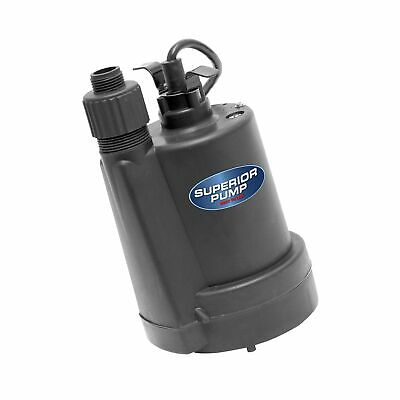 Superior Pump 91250 1/4 HP Thermoplastic Submersible Utility Pump with