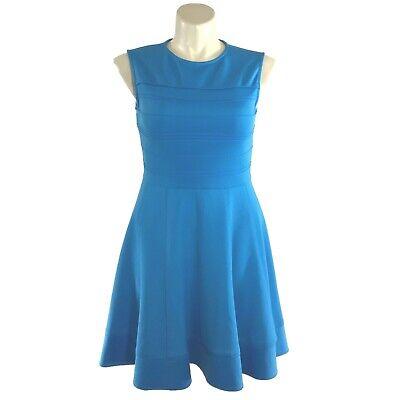 Julia Jordan 12 Large Dress Blue Tier Pleat Detail Fit Flare Skirt Stretch Party