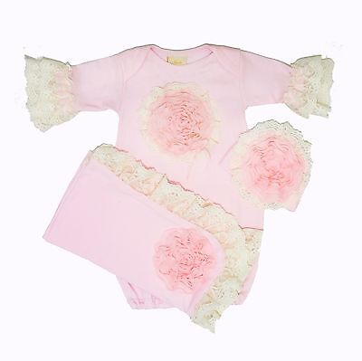 NEW! Haute Baby Pink Lullabye Boutique Take-me-Home Set (gown, cap, blanket)