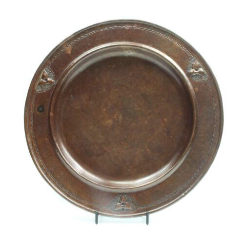 """Antique Early 20th Century Arts & Crafts Roycroft Hand Hammered Copper 10"""" Plate"""