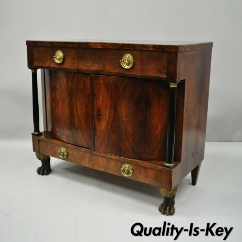 19th C American Empire Lion Claw Foot Crotch Mahogany Server Cabinet