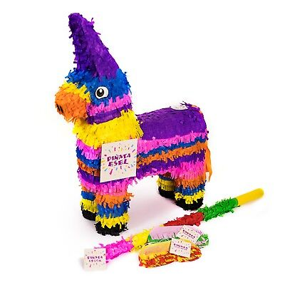 Esel Pinata Set, Pinjatta + Stab + Augenmaske, Kinder Geburtstag Spiel