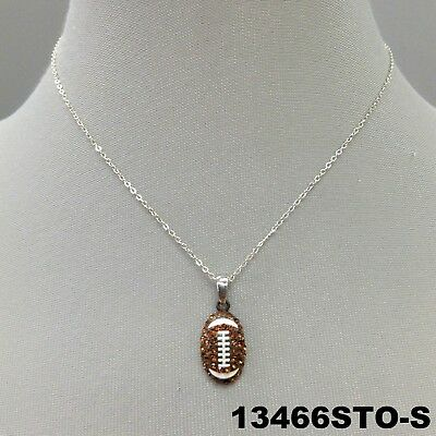 Brown Rhinestone Football Season Charm Silver Finish Dainty Necklace 13466STO-S