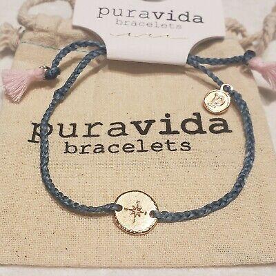 Pura Vida Bracelet~ rose gold compass charm on blue/green mini braided w tassels