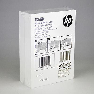 "HP Vivid Inkjet Photo Paper 5"" x 7"" Glossy white CG938A 220 Sheets FREE SHIPPING"