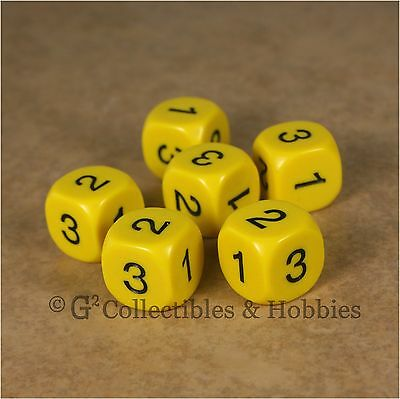 NEW Set of 6 D3 Six Sided 1 to 3 Twice Yellow Game Dice D&D RPG 16mm for sale  Columbus