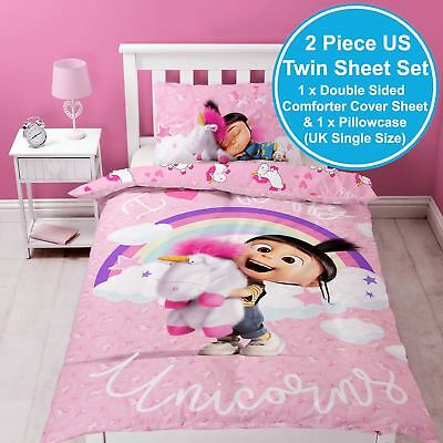 UNICORN UK SINGLE / US TWIN DOUBLE SIDED SHEET & PLLOWCASE (Despicable Me Fluffy)