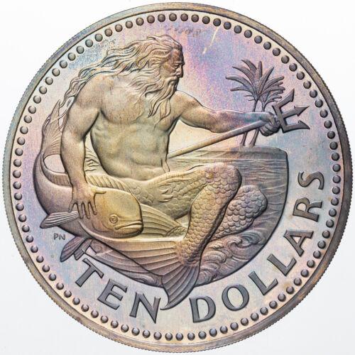 1973 BARBADOS TEN DOLLARS SILVER BEAUTIFUL LIGHT PURPLE BLUE COLOR TONED BU (MR)