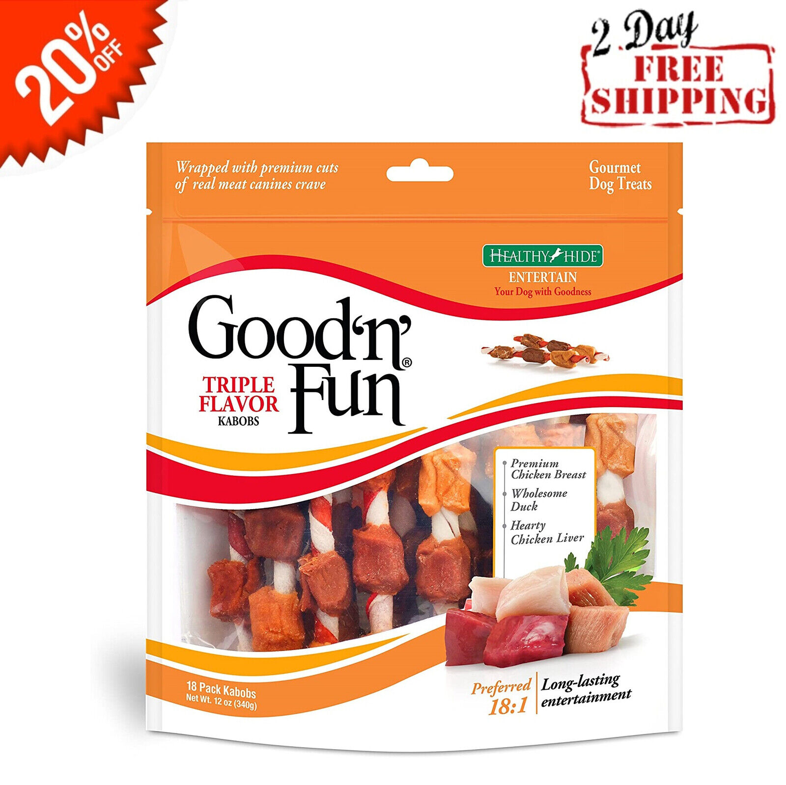 Dog Treats TRIPLE FLAVOR KABOBS 18 Pack Healthy Gourmet Chic