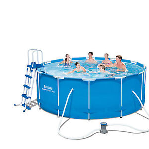 "NEW 12FT BESTWAY PRO STEEL FRAME SWIMMING POOL WITH FILTER PUMP 40"" DEEP POOLS"