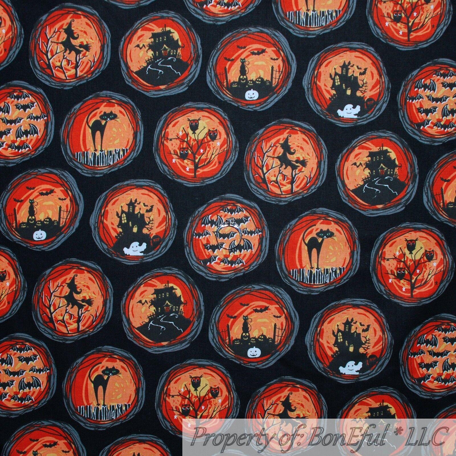 BonEful Fabric FQ Cotton Quilt Orange Fire Black Dark Night Tree Owl Bat Cat Rat